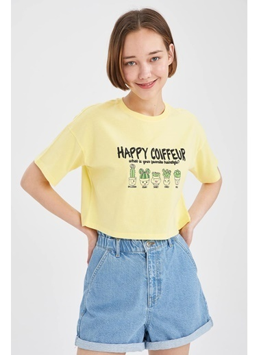 DeFacto Kaktüs Baskılı Relax Fit Crop T-shirt Sarı